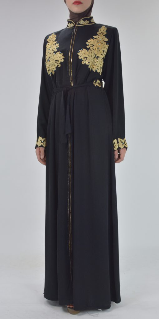 Black Golden Floral Butterfly Embroidered Rhinestone Abaya (2)