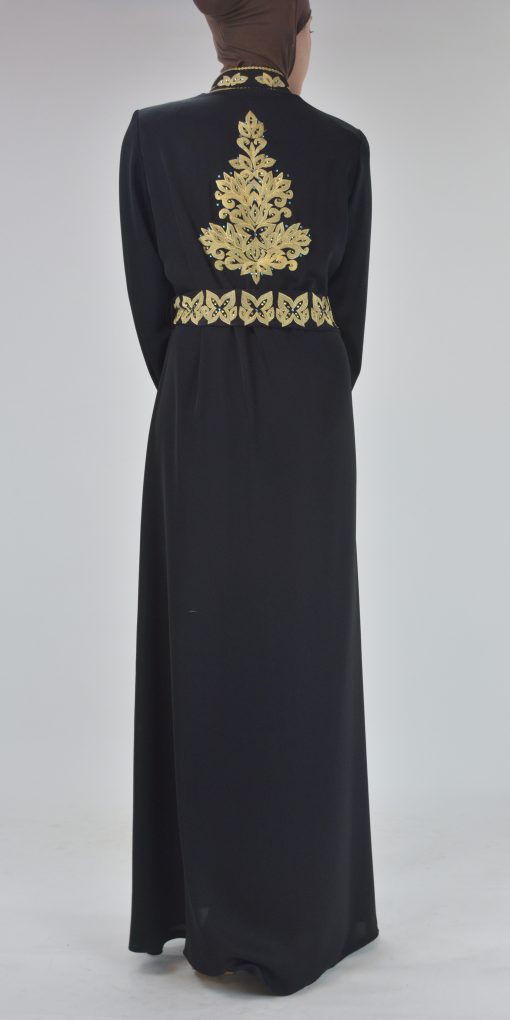 Black Golden Floral Butterfly Embroidered Rhinestone Abaya (3)