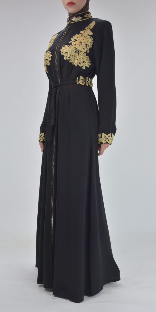 Black Golden Floral Butterfly Embroidered Rhinestone Abaya (4)