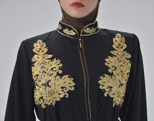 Black Golden Floral Butterfly Embroidered Rhinestone Abaya (5)