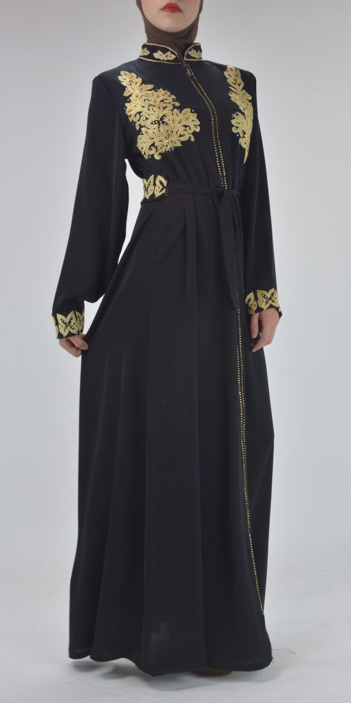 Black Golden Floral Butterfly Embroidered Rhinestone Abaya