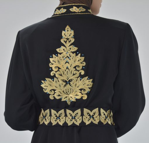 Black Golden Floral Butterfly Embroidered Rhinestone Abaya (6)