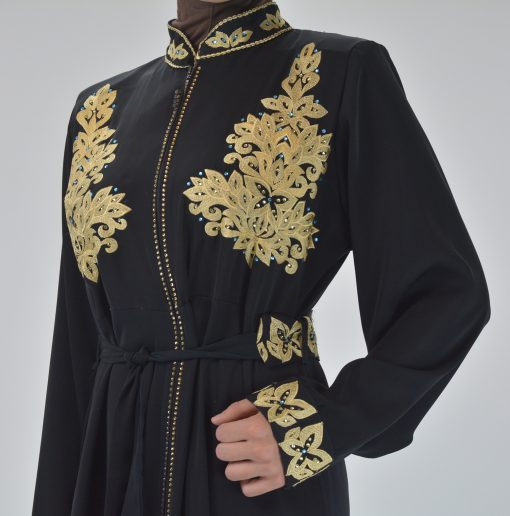 Black Golden Floral Butterfly Embroidered Rhinestone Abaya (7)