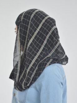 Black Plaid Twister Kuwaiti Wrap Hijab (3)