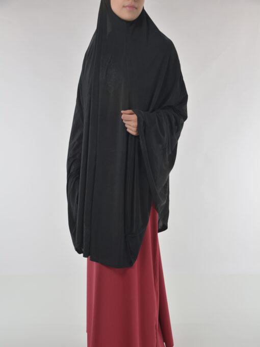 Black Rhinestone Floral-Imprint Al-Amira KhimarHijab HI2110 (10)