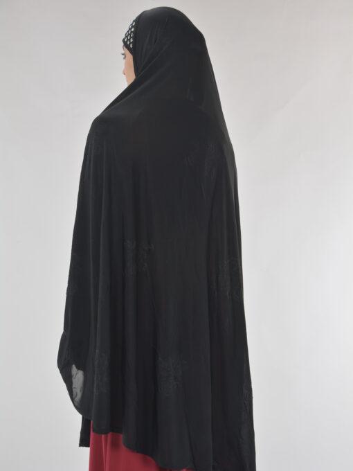 Black Rhinestone Floral-Imprint Al-Amira KhimarHijab HI2110 (11)