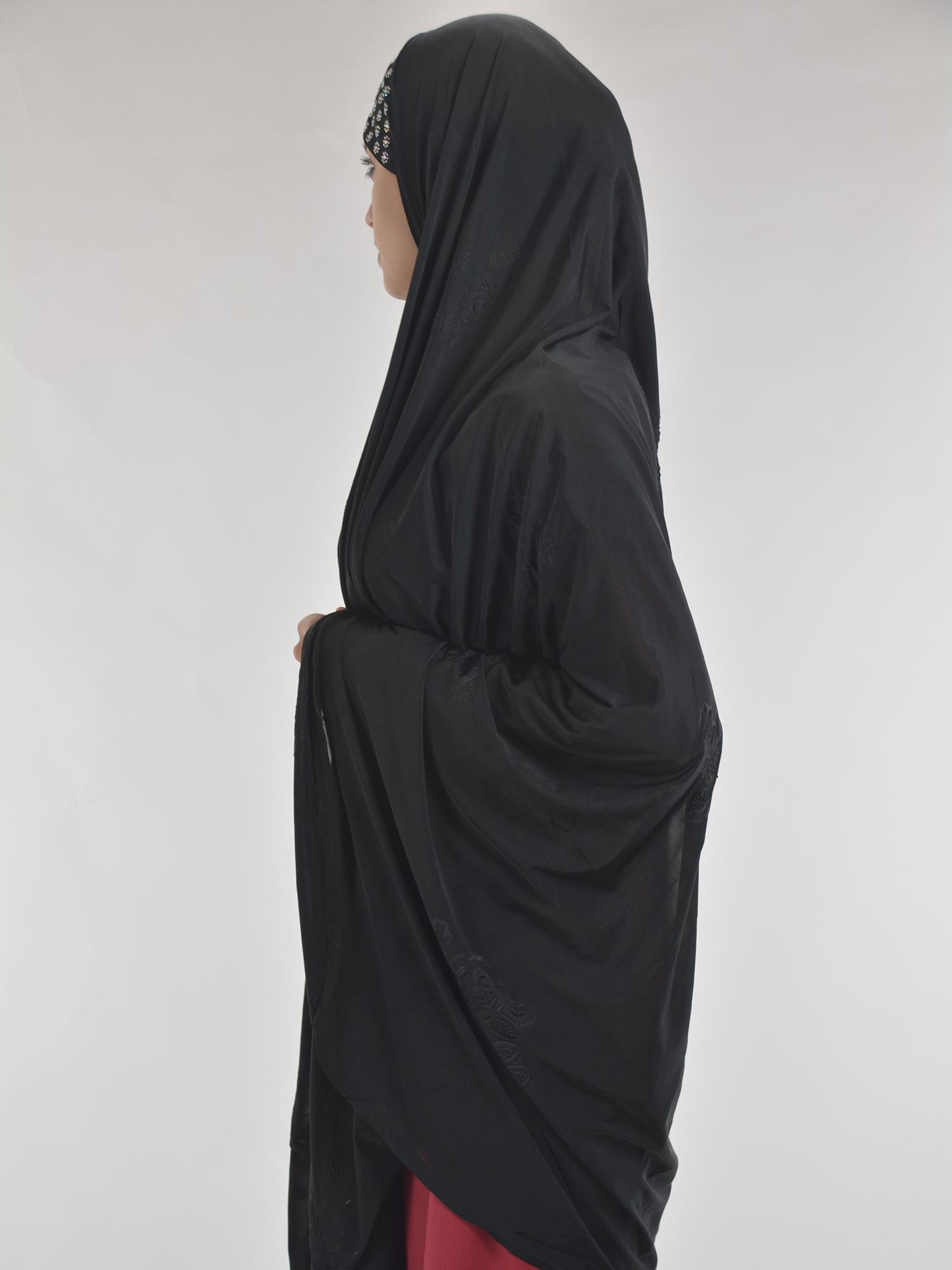 Black Rhinestone Floral-Imprint Al-Amira Khimar/Hijab