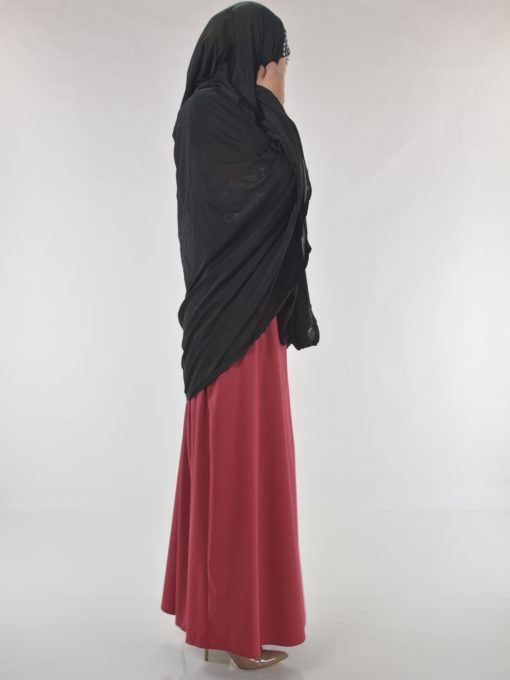 Black Rhinestone Floral-Imprint Al-Amira KhimarHijab HI2110 (9)