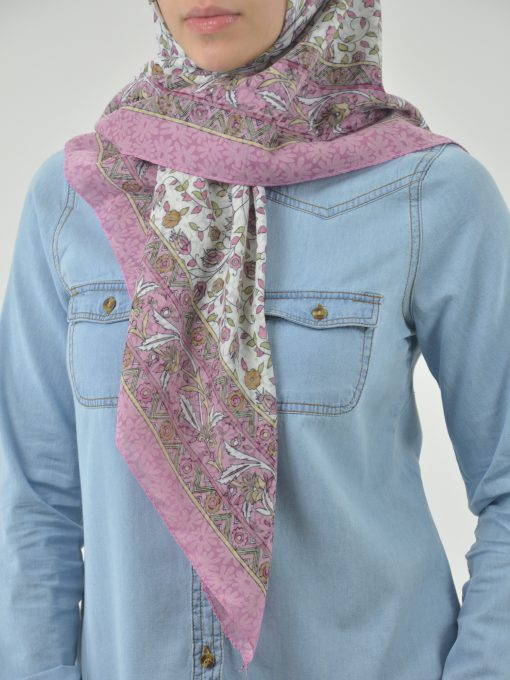 Blooming Vines Print Square Hijab HI2128 (1)