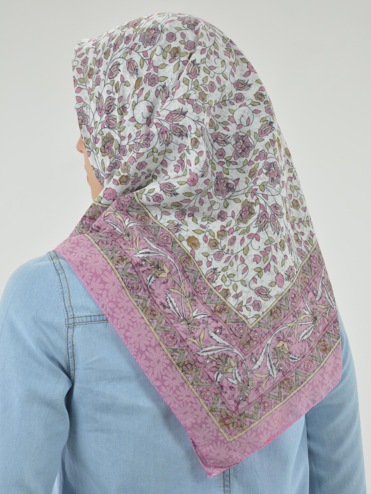 Blooming Vines Print Square Hijab HI2128 (2)
