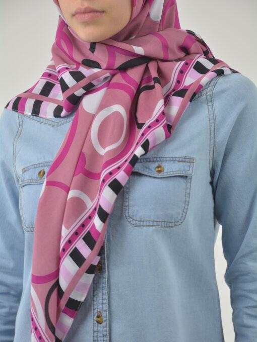 Checkered Bubbles Square Hijab HI2121 (2)