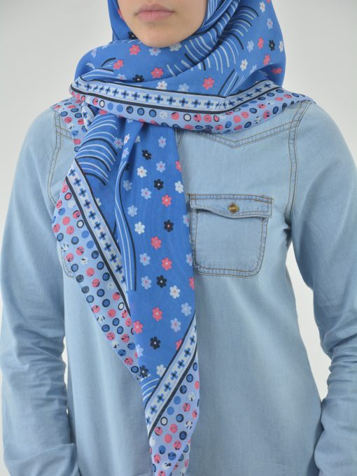 Floral Breeze Print Square Hijab HI2120 (2)