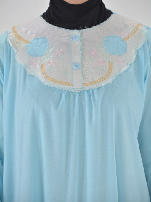 Floral Embroidered Cotton Nightgown NG100 (4)