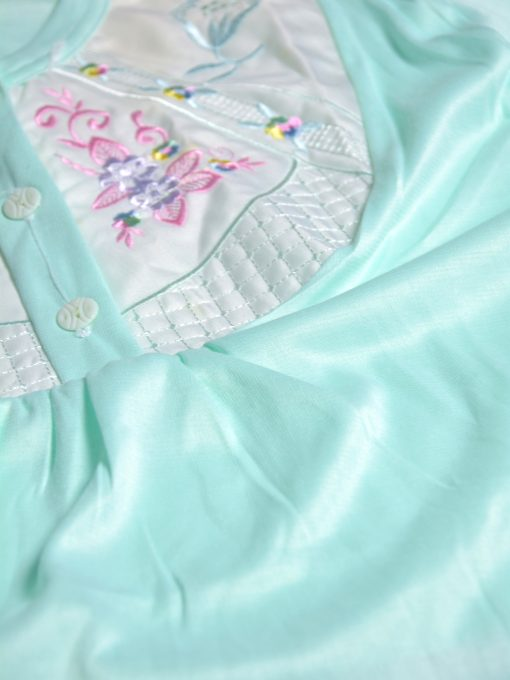 Floral Embroidered Cushioned Cotton Nightgown NG101 (1)