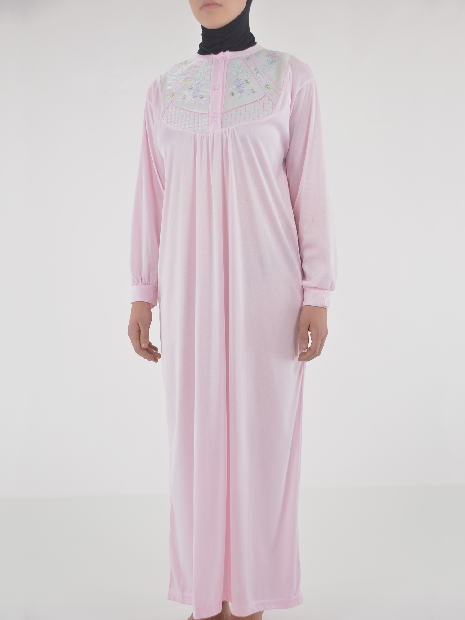 Floral Embroidered Cushioned Cotton Nightgown NG101 (2)