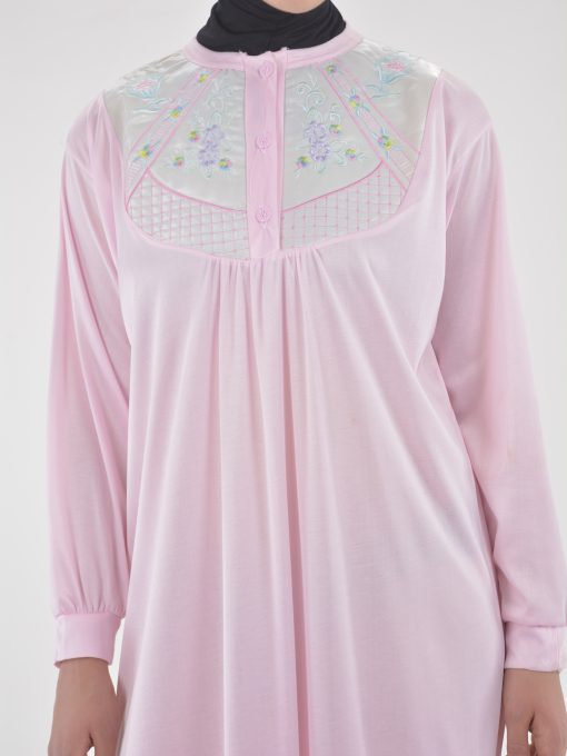 Floral Embroidered Cushioned Cotton Nightgown NG101 (3)