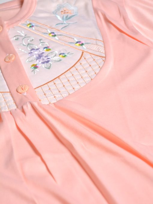 Floral Embroidered Cushioned Cotton Nightgown NG101 (4)