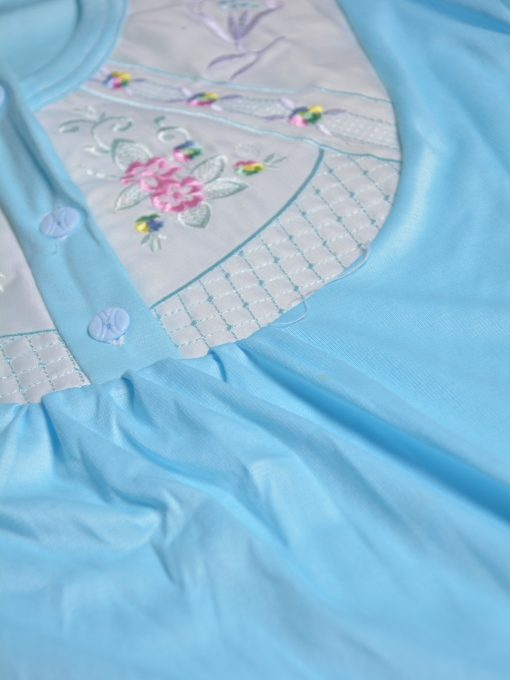 Floral Embroidered Cushioned Cotton Nightgown NG101 (6)