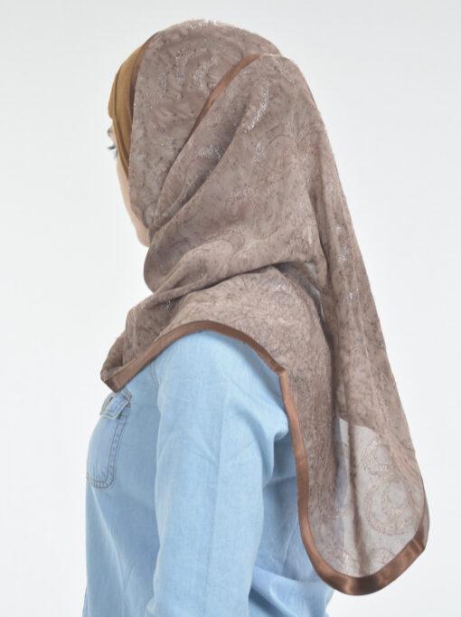 Glitter Swirls Round Kuwaiti Wrap Hijab Brown (2)