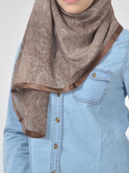 Glitter Swirls Round Kuwaiti Wrap Hijab Brown (3)