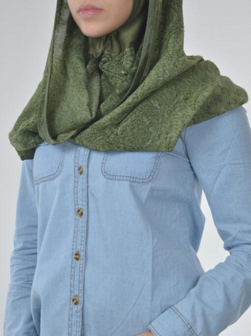 Glitter Swirls Twister Kuwaiti Wrap Hijab Green (3)
