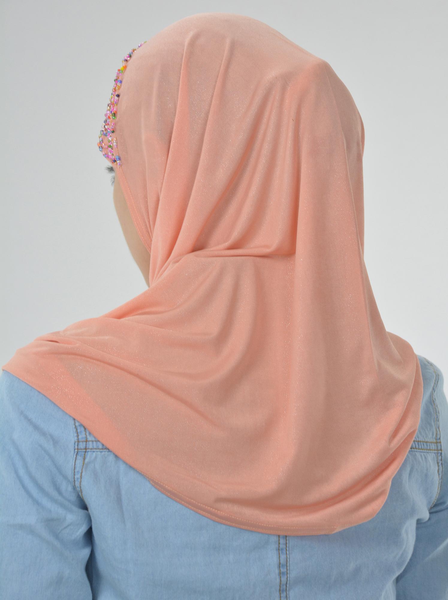 Glittered Beaded One Piece Amira Hijab Peach