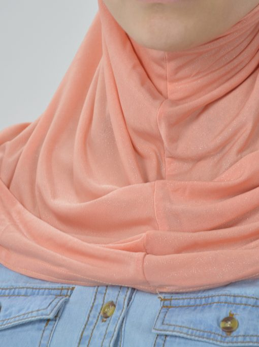 Glittered Beaded One Piece Amira Hijab Peach (2)