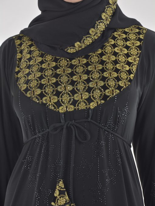 Golden Floral Ogee Rhinestone Stars Abaya AB700 (7)
