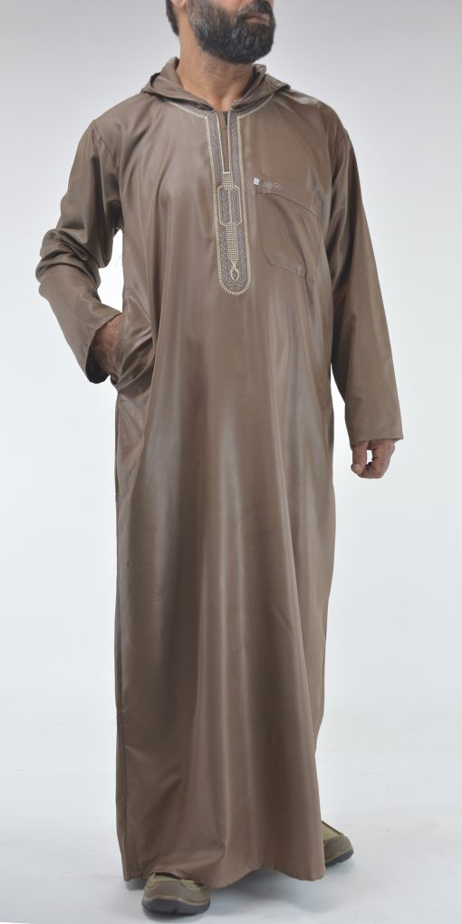 Hooded Embroidered Velcro Moroccan Thobe Brown (2)