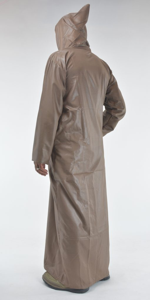 Hooded Embroidered Velcro Moroccan Thobe Brown (3)
