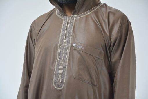 Hooded Embroidered Velcro Moroccan Thobe Brown (4)