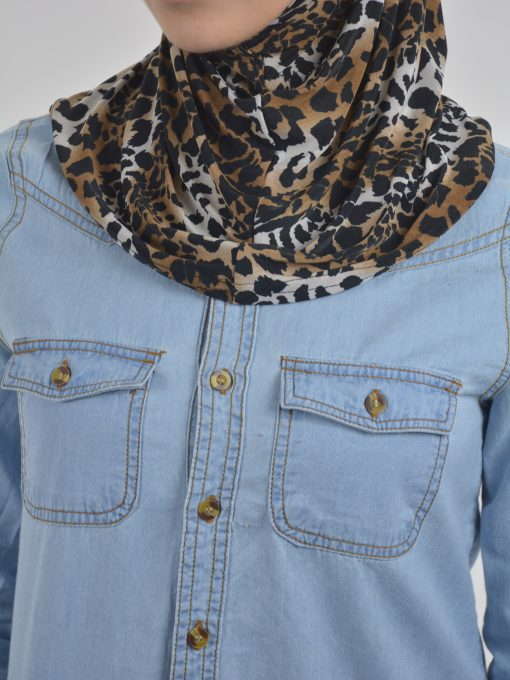 Leopard Print Two Piece Al-Amira Hijab HI2113 Brown (2)