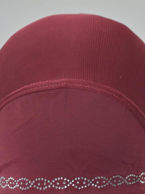 Long Rhinestone Forehead One Piece Amira Hijab Red (2)