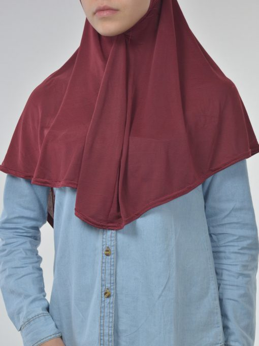 Long Rhinestone Forehead One Piece Amira Hijab Red (3)