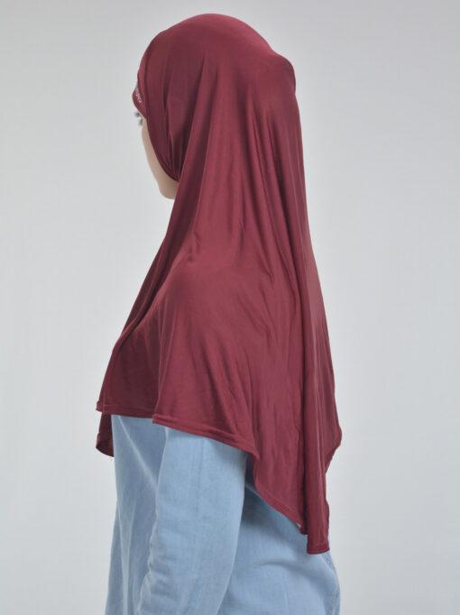 Long Rhinestone Forehead One Piece Amira Hijab Red