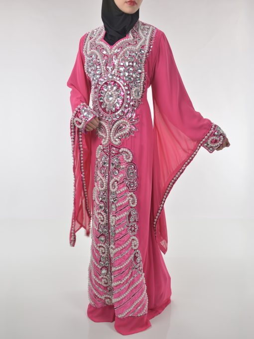 Pink Beaded Sequins Pearled Syrian Abaya AB698 (1)