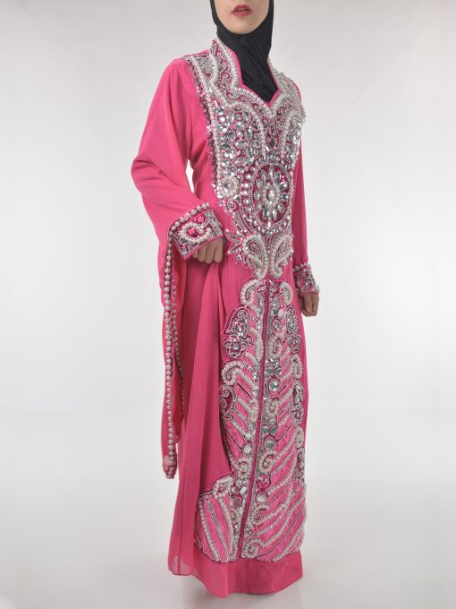 Pink Beaded Sequins Pearled Syrian Abaya AB698 (2)