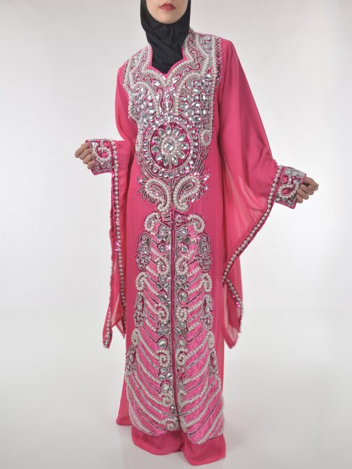 Pink Beaded Sequins Pearled Syrian Abaya AB698 (3)