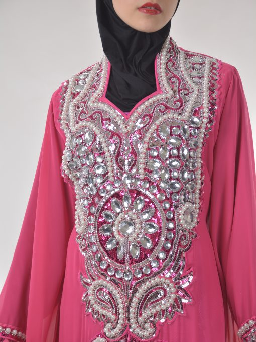 Pink Beaded Sequins Pearled Syrian Abaya AB698 (4)