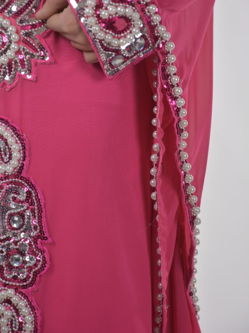Pink Beaded Sequins Pearled Syrian Abaya AB698 (5)