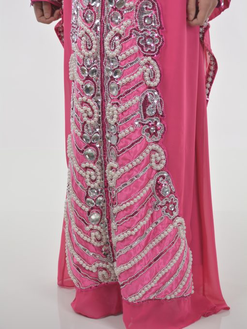 Pink Beaded Sequins Pearled Syrian Abaya AB698 (6)