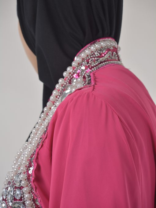 Pink Beaded Sequins Pearled Syrian Abaya AB698 (7)