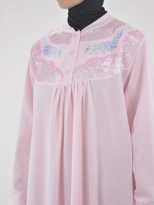 Rose Embroidered Cotton Nightgown NG102 (4)
