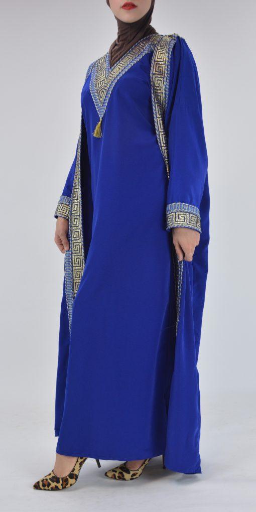 Royal Blue Syrian Duster Bisht Abaya (3)