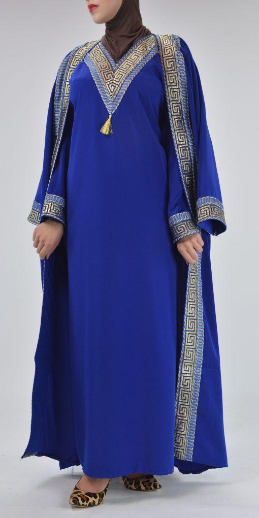 Royal Blue Syrian Duster Bisht Abaya (9)