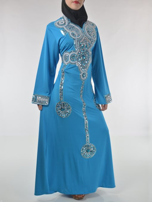 Sky-Blue Beaded Sequins Embroidered Abaya (1)