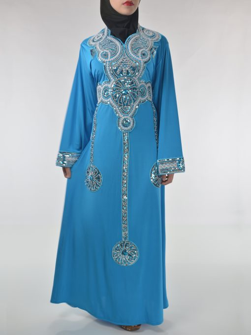 Sky-Blue Beaded Sequins Embroidered Abaya (2)
