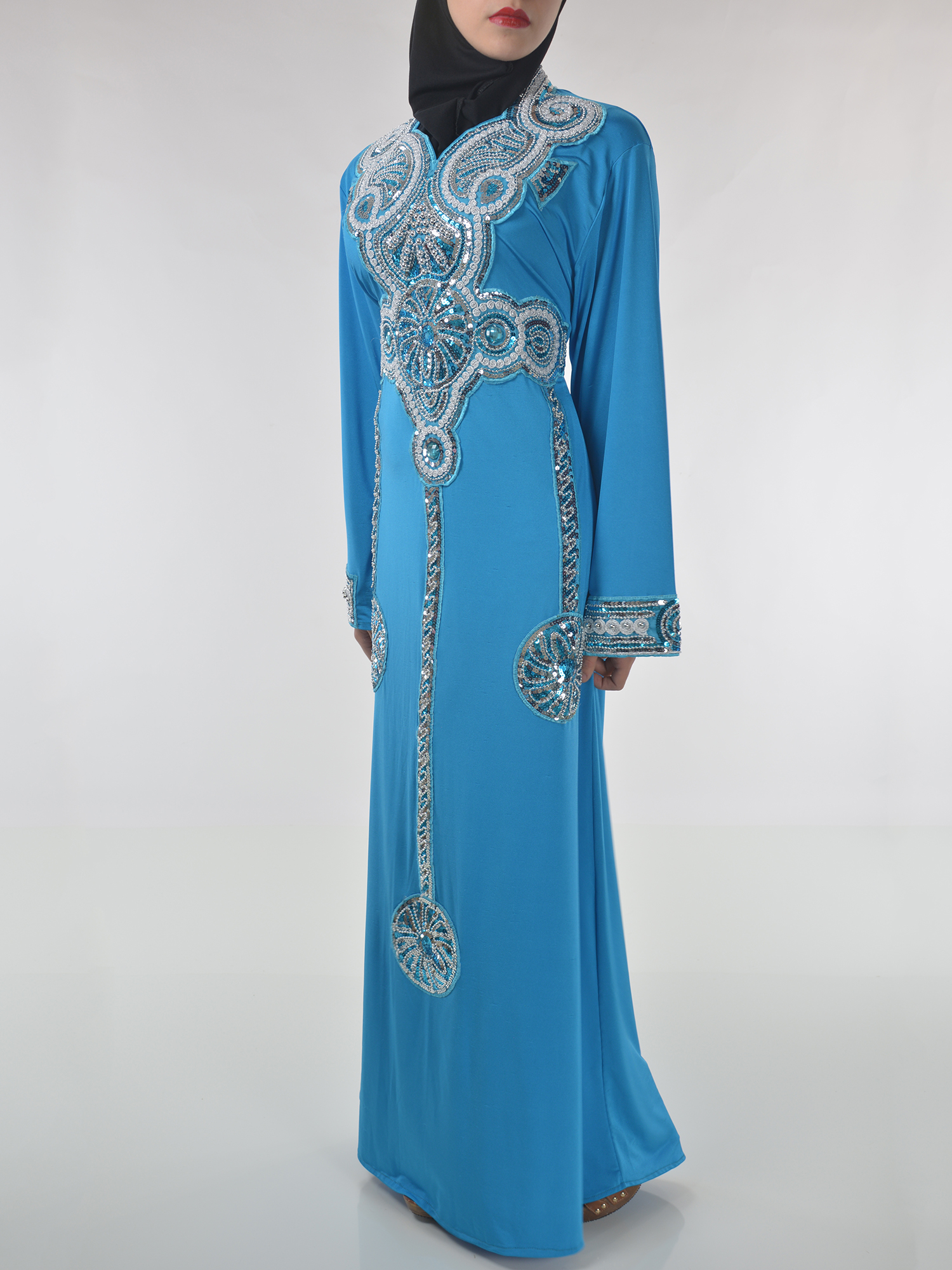 Sky-Blue Beaded Sequins Embroidered Abaya (3)
