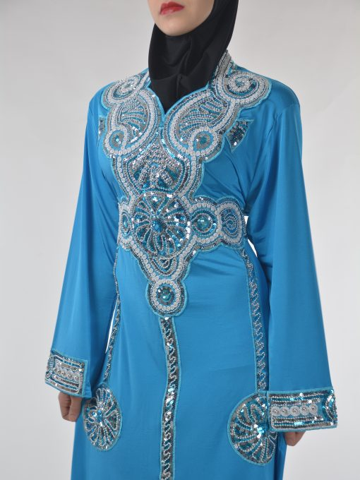 Sky-Blue Beaded Sequins Embroidered Abaya (4)