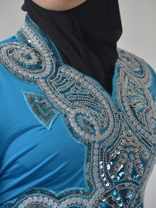 Sky-Blue Beaded Sequins Embroidered Abaya (5)